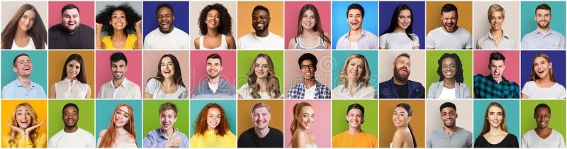 Colagem de pessoas diversificadas expressando emoções positivas imagem de stock