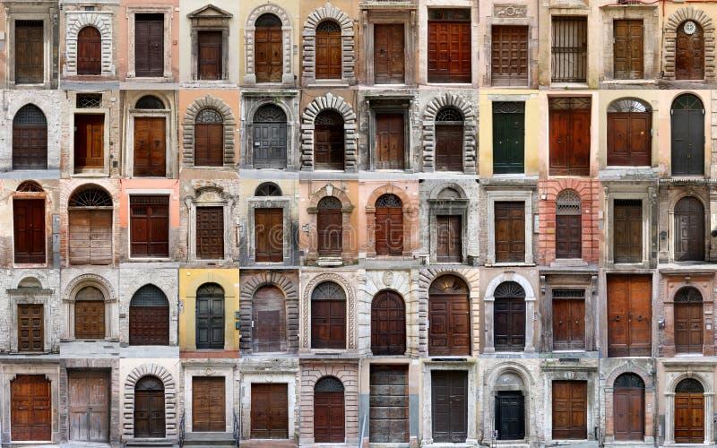 Colagem de 60 portas e portas em Perugia (Itália) imagem de stock
