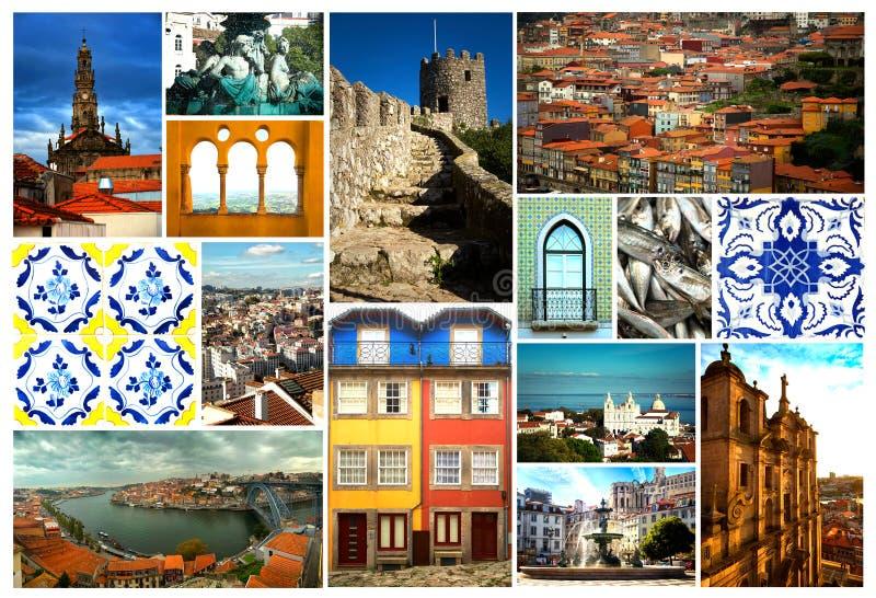 Colagem de Portugal em Europa fotos de stock royalty free