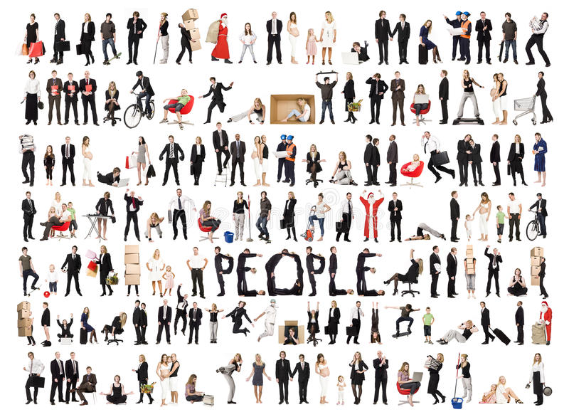Colagem de povos isolados imagem de stock royalty free