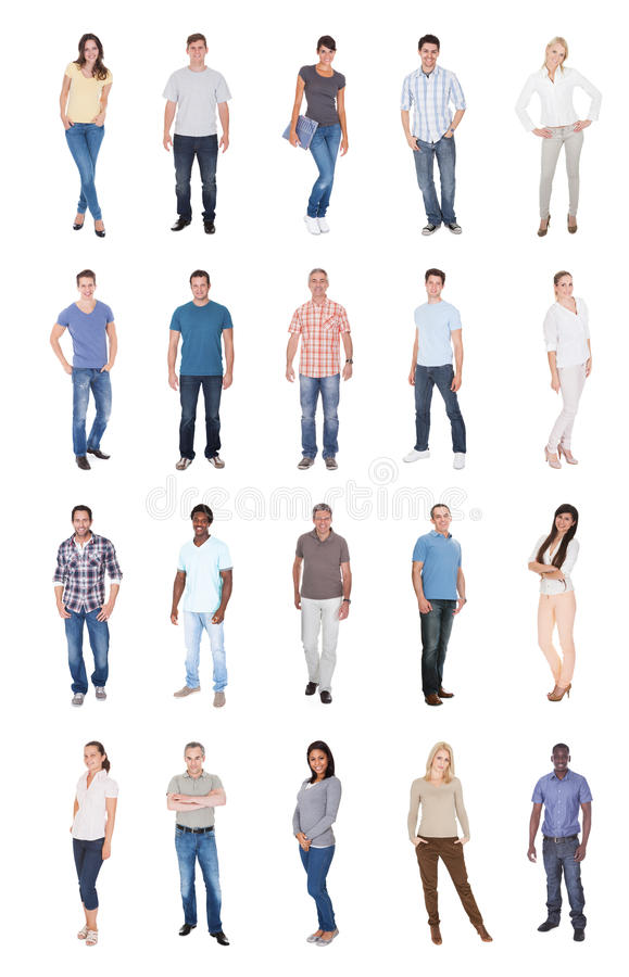 Colagem de povos multi-étnicos em ocasional foto de stock