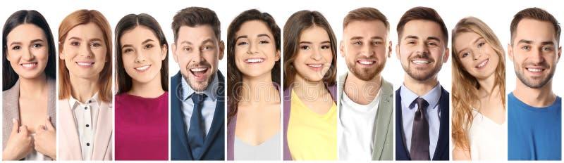 Colagem de povos de sorriso no fundo branco foto de stock royalty free
