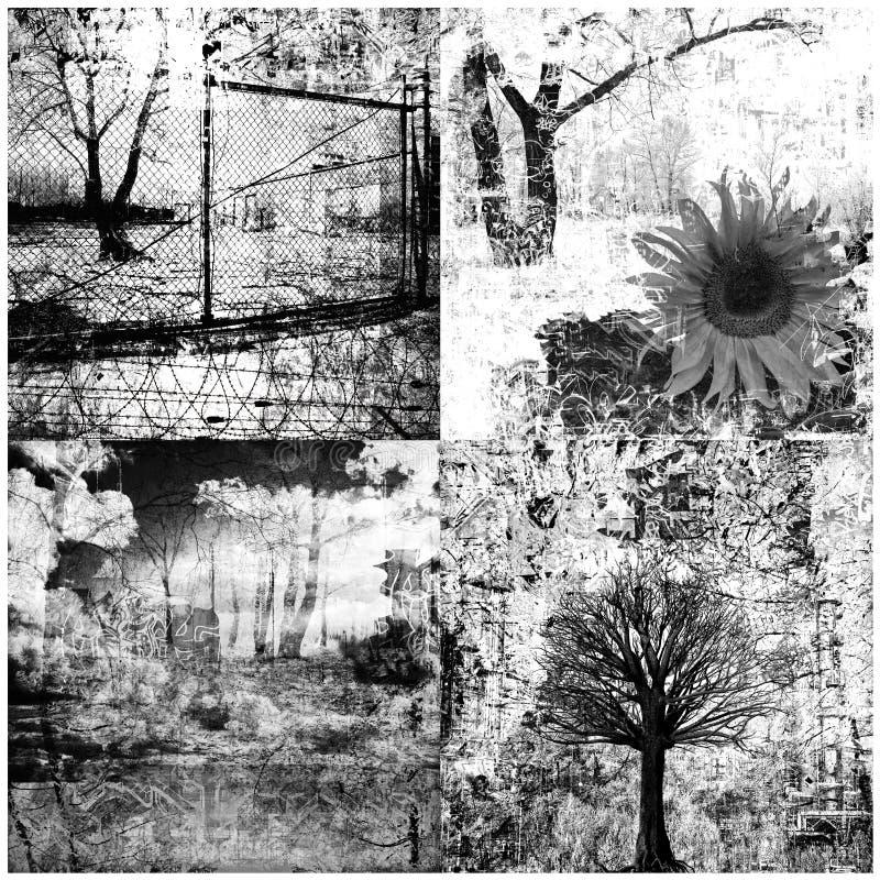 Colagem de quatro grunge imagens de stock