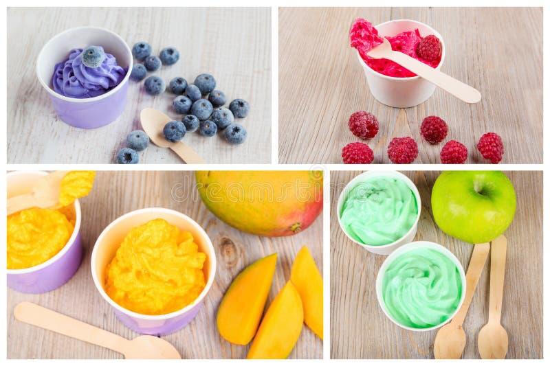 Colagem de quatro iogurtes cremosos congelados diferentes do gelo foto de stock royalty free