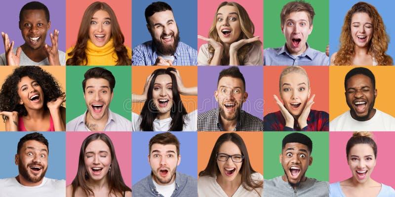 Colagem de retratos emocionais dos millennials fotos de stock royalty free