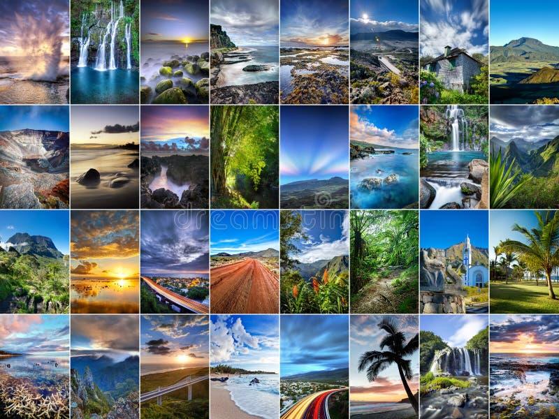 Colagem de Reunion Island fotos de stock royalty free