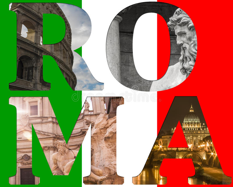 Colagem de Roma de lugar famosos diferentes ilustração royalty free