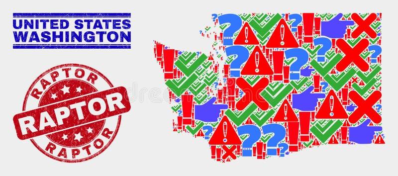 Colagem de Sinal de Mapa do Estado de Washington Mosaico e Selo de Carimbo de Raptor Grunge ilustração stock