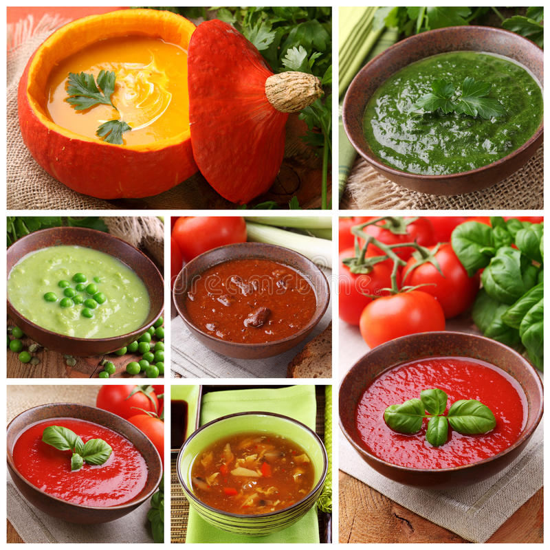 Colagem de sopas diferentes fotografia de stock