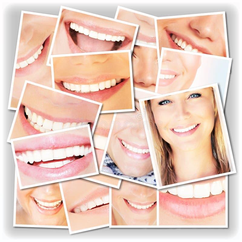 Colagem de sorriso das faces imagens de stock