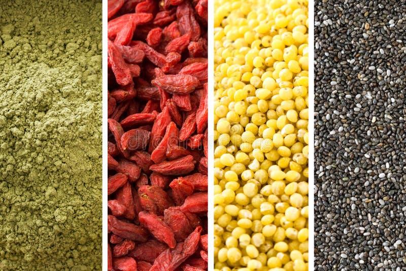 Colagem de Superfood: sementes do chia, chá do matcha, bagas do goji e mijo foto de stock royalty free