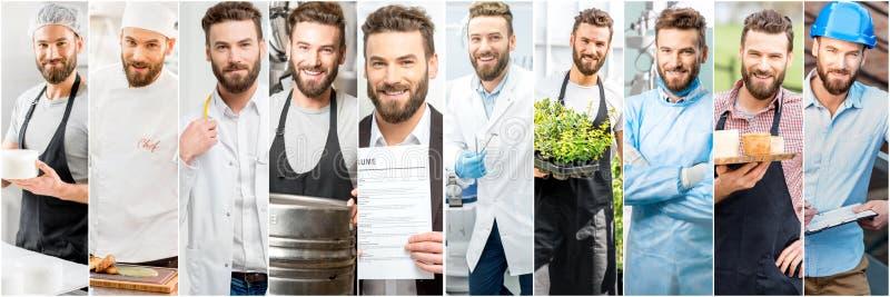 Colagem de um homem com profissões diferentes foto de stock