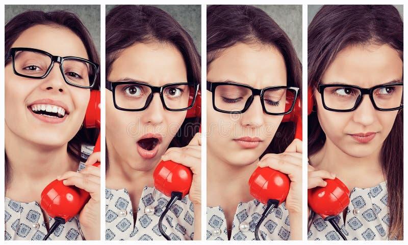 Colagem de uma jovem mulher que fala no telefone fotos de stock royalty free