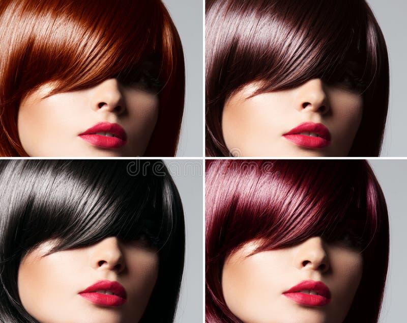Colagem de uma mulher bonita com cabelo lustroso reto fotografia de stock