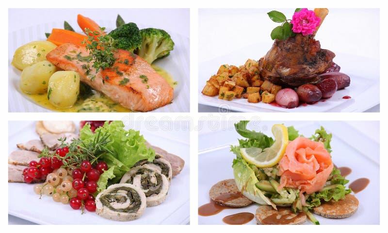 Colagem de uma refeição de jantar fina foto de stock royalty free