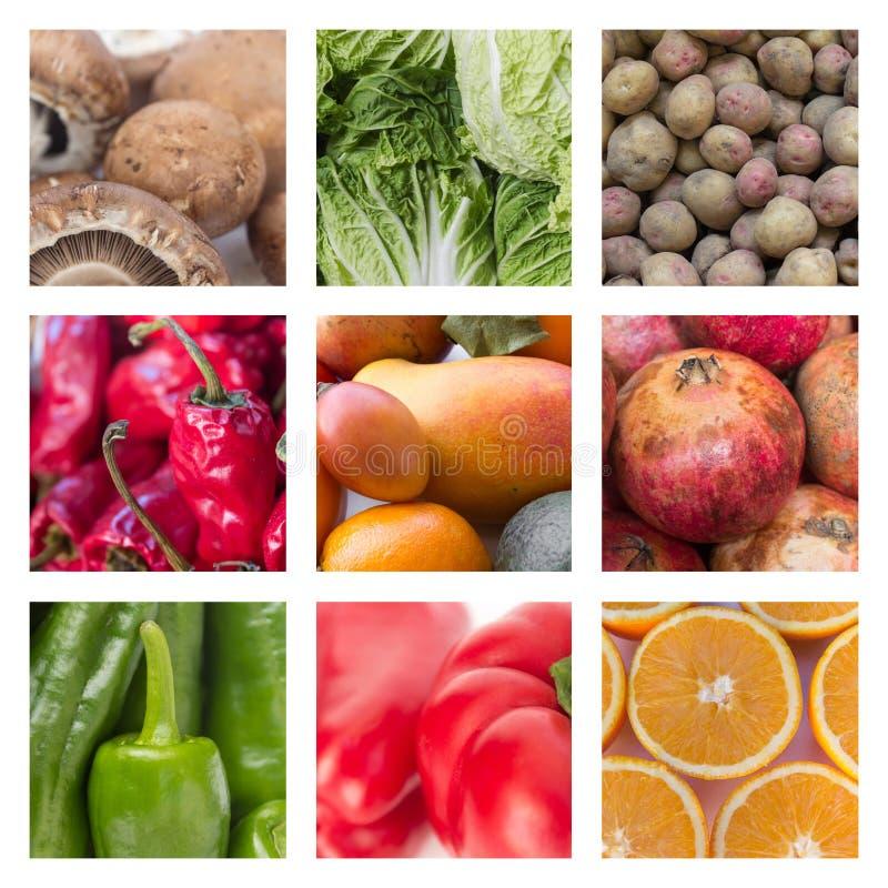 Colagem de várias frutas e legumes - conceito do alimento imagem de stock