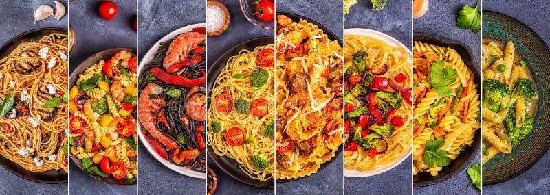 Colagem de vários pratos da massa fotografia de stock