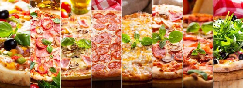 Colagem de vários tipos de pizza fotos de stock