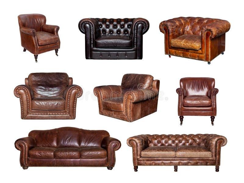 Colagem de vistas laterais e dianteiras do sofá e da cadeira de couro foto de stock royalty free