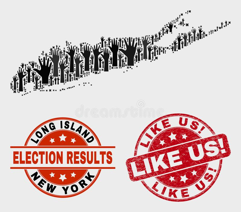 Colagem de votar o mapa e o Grunge de Long Island como nós! Selo do selo ilustração do vetor