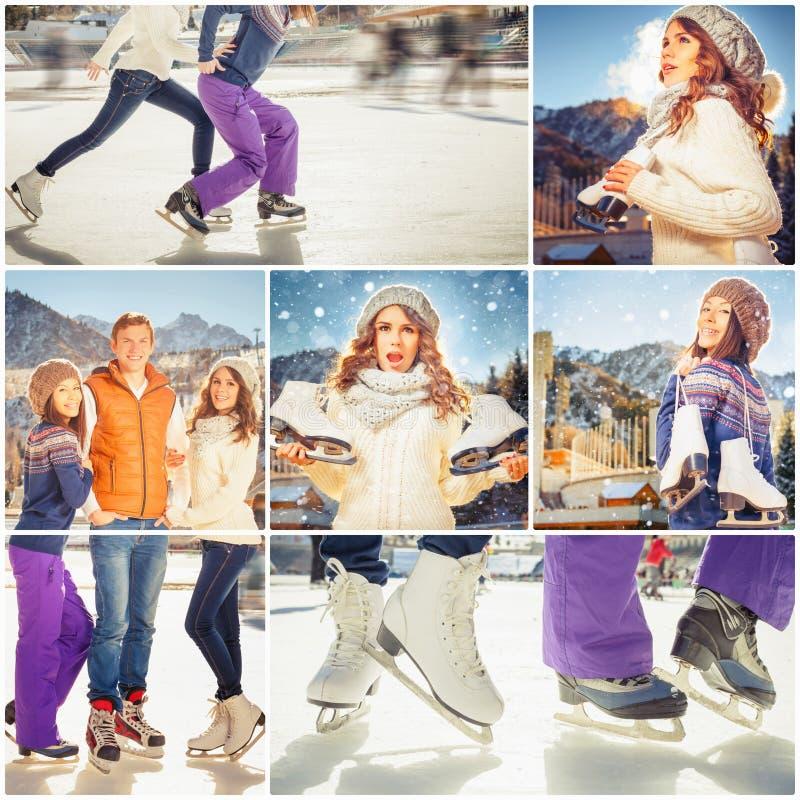 Colagem diversas fotos do grupo feliz de povos da patinagem no gelo fotos de stock