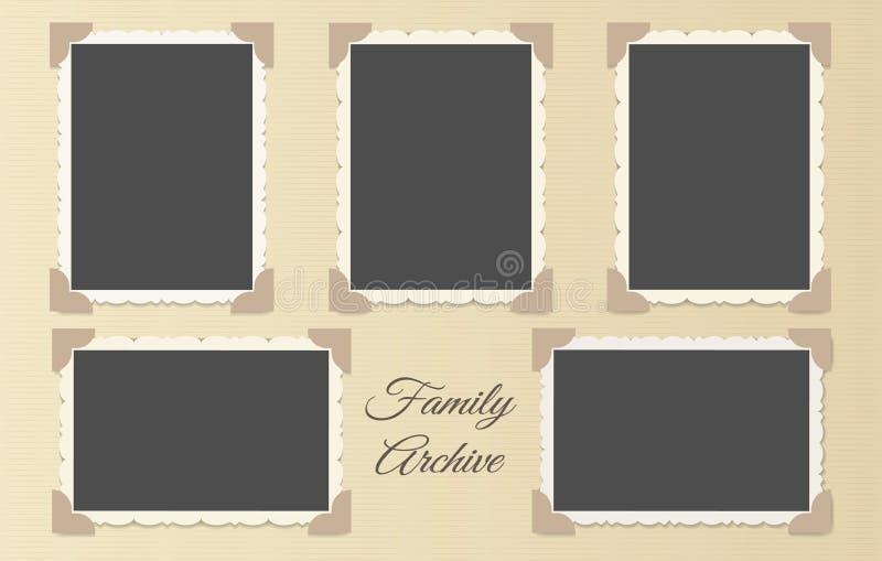 Colagem do álbum de fotografias da família ilustração do vetor