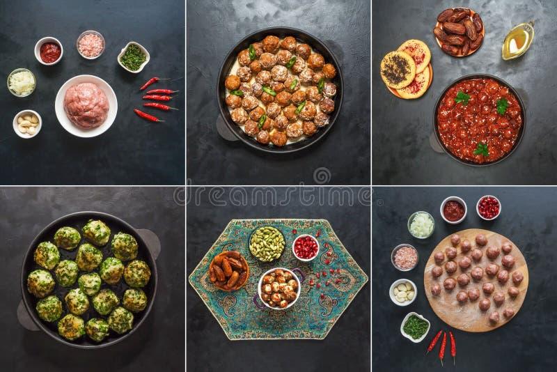 Colagem do alimento com culinária do mundo das almôndegas da carne imagem de stock