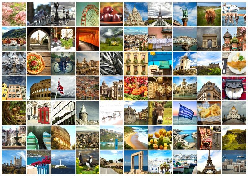 Colagem do alimento, das coisas e do lugar de Europa fotos de stock