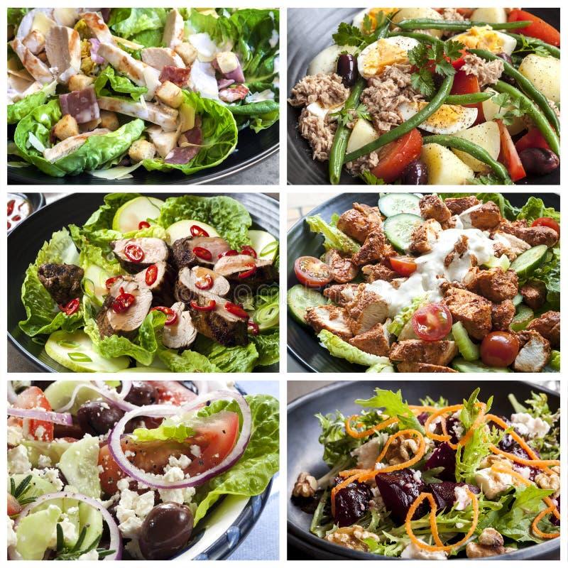 Colagem do alimento das saladas foto de stock