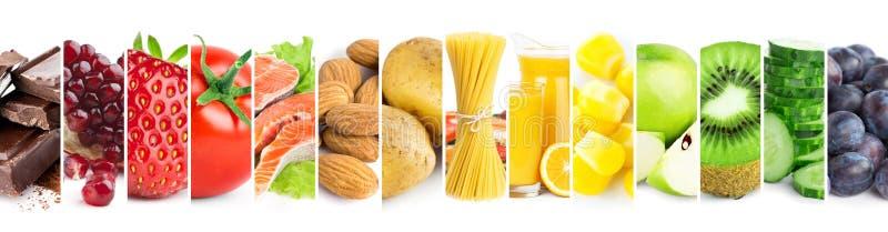 Colagem do alimento maduro da cor fresca misturada imagens de stock royalty free