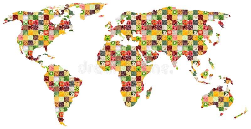 Colagem do alimento misturado fresco Mapa de mundo imagens de stock royalty free