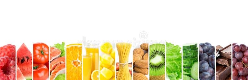 Colagem do alimento saudável da cor fresca misturada Conceito do alimento imagem de stock royalty free