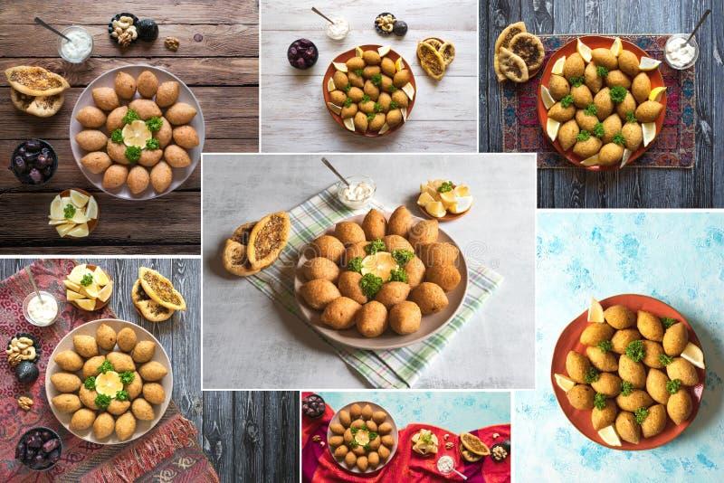 Colagem do aperitivo árabe Kibbeh da carne Kibbeh árabe tradicional com cordeiro e pinhões fotografia de stock royalty free