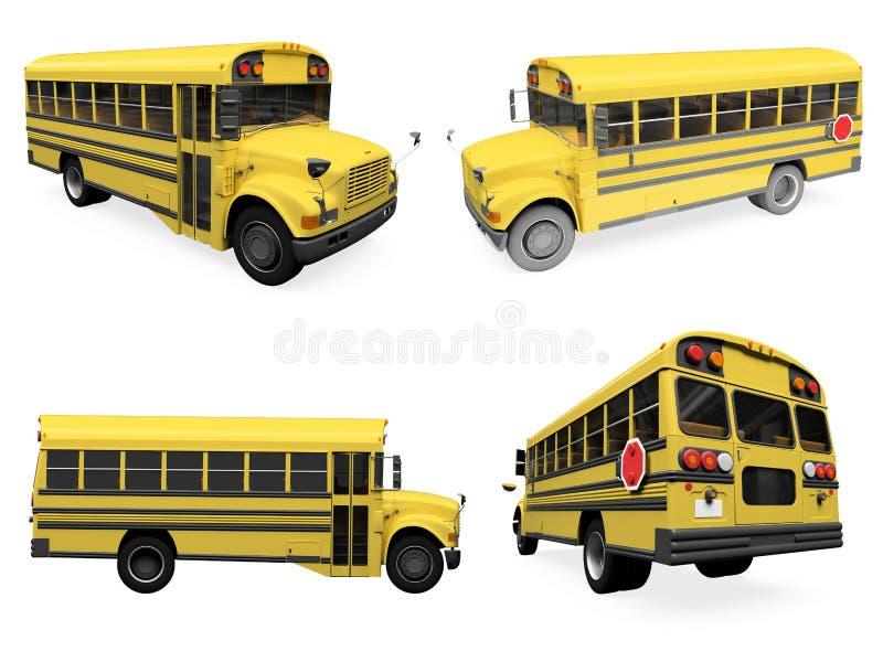 Colagem do auto escolar isolado ilustração royalty free