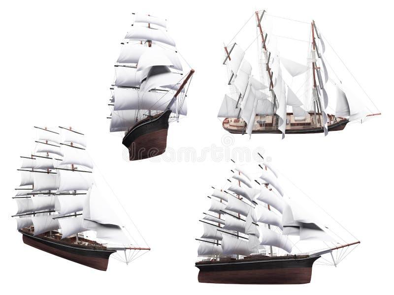 Colagem do barco isolado ilustração do vetor