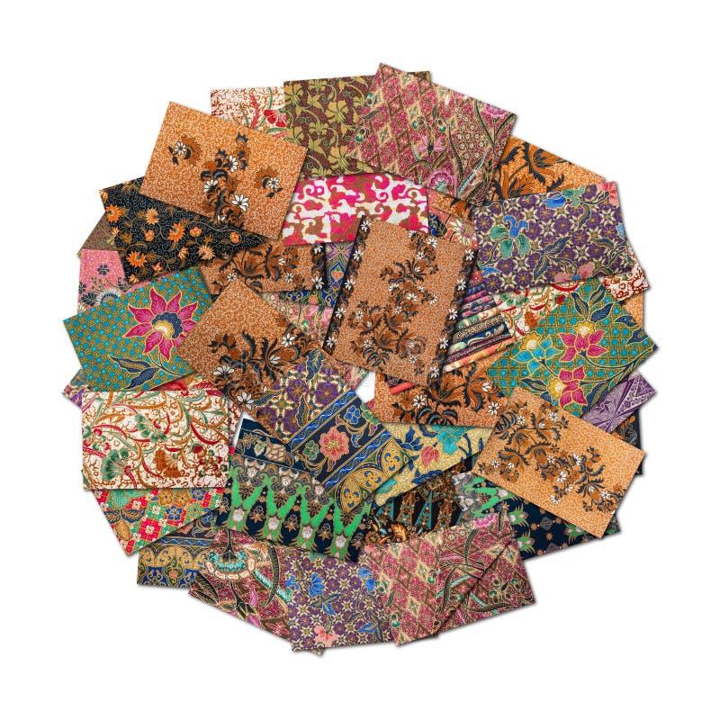 Colagem do Batik na forma redonda imagem de stock