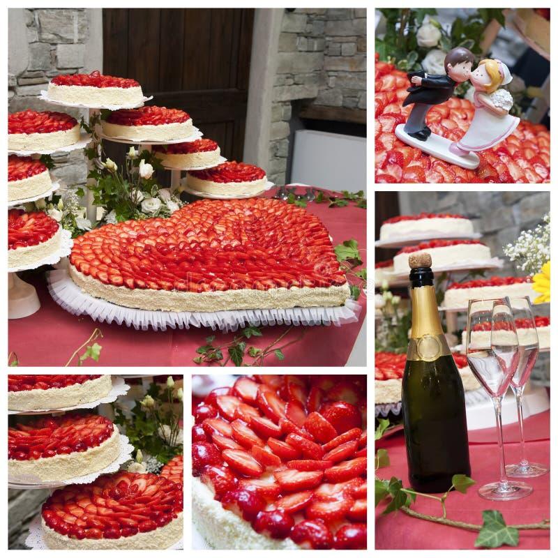 Colagem do bolo de casamento foto de stock
