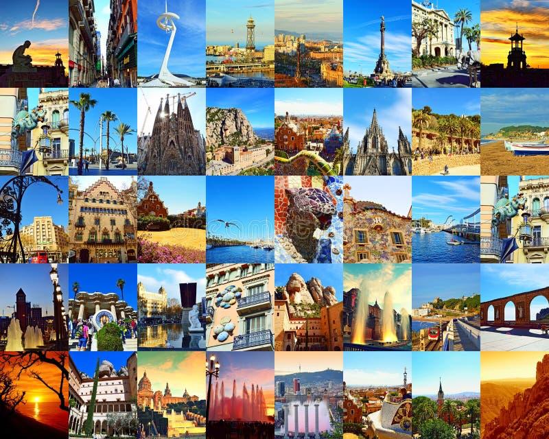 Colagem do cartão da cidade dos marcos de Barcelona imagens de stock royalty free