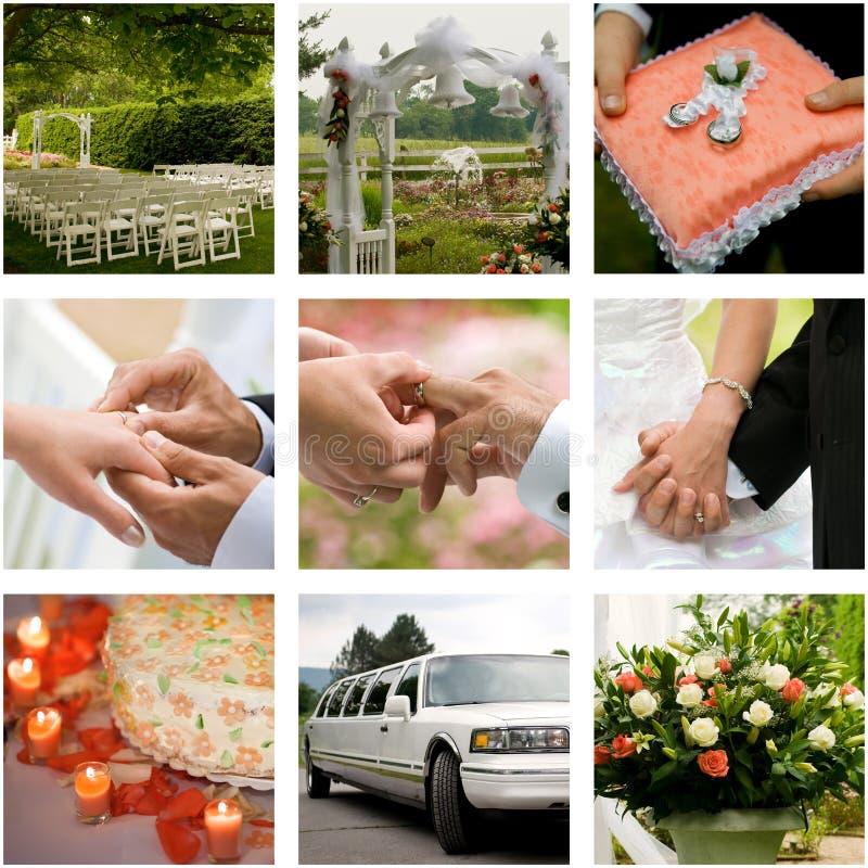 Colagem do casamento fotos de stock royalty free