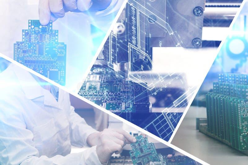 A colagem do computador embarca com efeitos visuais em um estilo futurista O conceito de tecnologias modernas e futuras foto de stock
