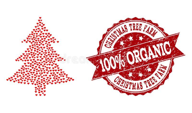 Colagem do coração do amor do ícone da árvore de abeto e da filigrana de borracha ilustração royalty free