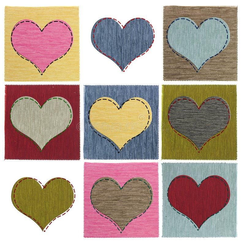 Colagem do coração de matéria têxtil imagens de stock