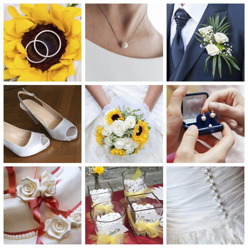 Colagem do dia do casamento fotos de stock royalty free
