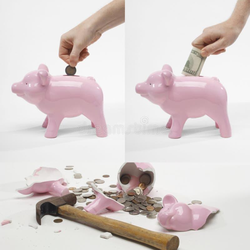 Colagem do dinheiro da economia do homem no piggybank para a aposentadoria fotos de stock royalty free