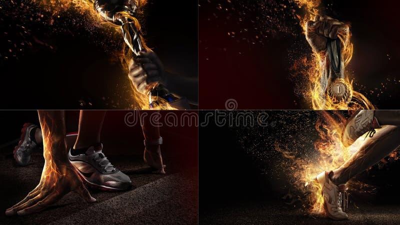 Colagem do esporte com fogo e energia imagem de stock