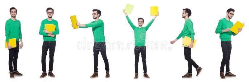 A colagem do estudante com os livros no branco fotografia de stock