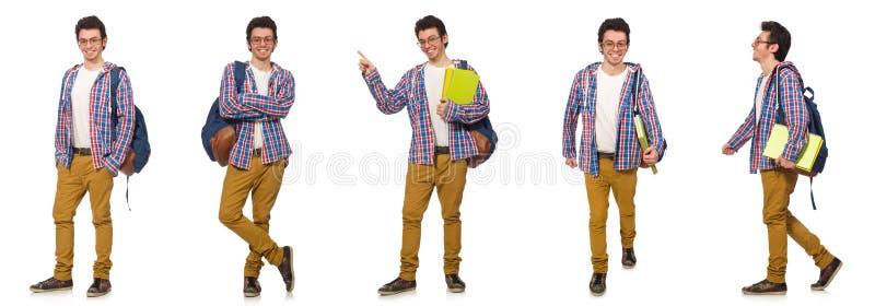 A colagem do estudante com a trouxa no branco fotos de stock