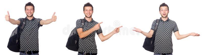 A colagem do estudante com a trouxa no branco imagens de stock