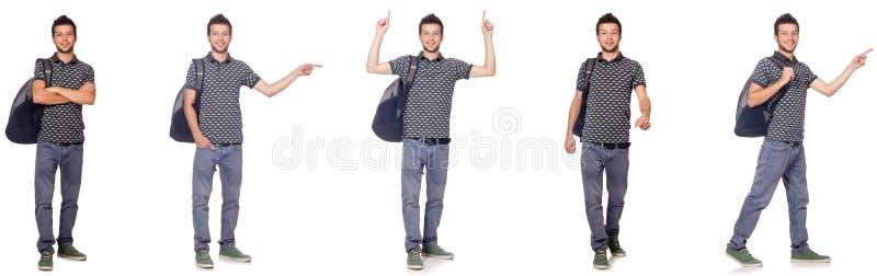 A colagem do estudante com a trouxa no branco imagens de stock royalty free