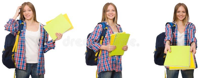 A colagem do estudante fêmea novo no branco foto de stock